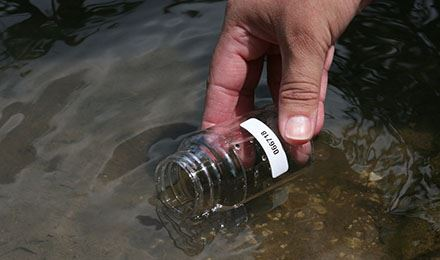 Photo shows a man's hand holding a glass jar just under the surface of the water of a smooth stre