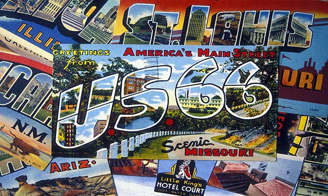 Image of several postcards highlighting the areas touched by Route 66.