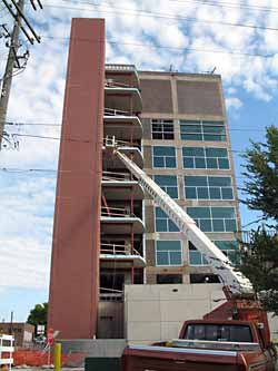 A tall building being remodeled in the Brownfield Redevelopment Program