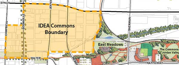 Map of the boundaries for the IDEA Commons, next to the East Meadows