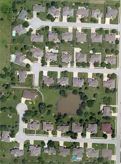 Aerial view of a residential subdivision