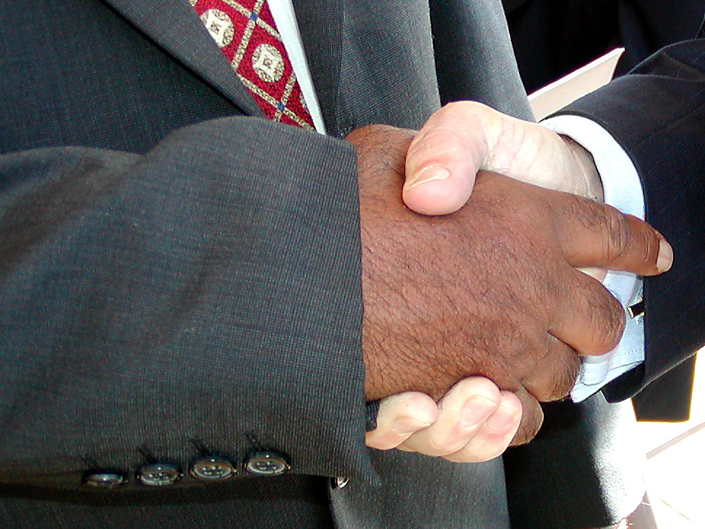 Handshake with a Caucasian hand and a brown hand.